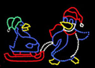 PENGUINS ON SLED